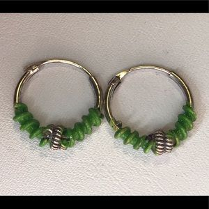 Sterling Silver Small Green Wire Earrings